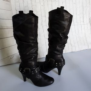 BAMBOO COWGIRL STYLE HEEL BOOTS
